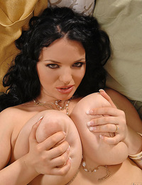 Sexy and busty babe Joanna Bliss and her huge H cup tits