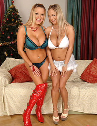 Busty babes Jannete and Sharon Pink having a hot Christams