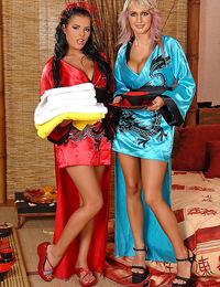 Busty beautiful girls Jannete & Jasmine Black with Nick Lang