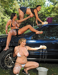Busty LaTaya Roxx, Maggie Green & Rebecca Jessop's car wash