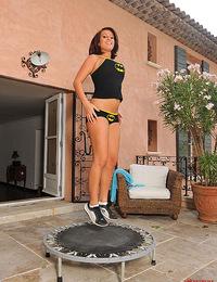 Hot & sexy busty brunette babe LaTaya Roxx jumping naked