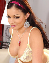 Celebrity star Aria Giovanni strips nude and touches herself